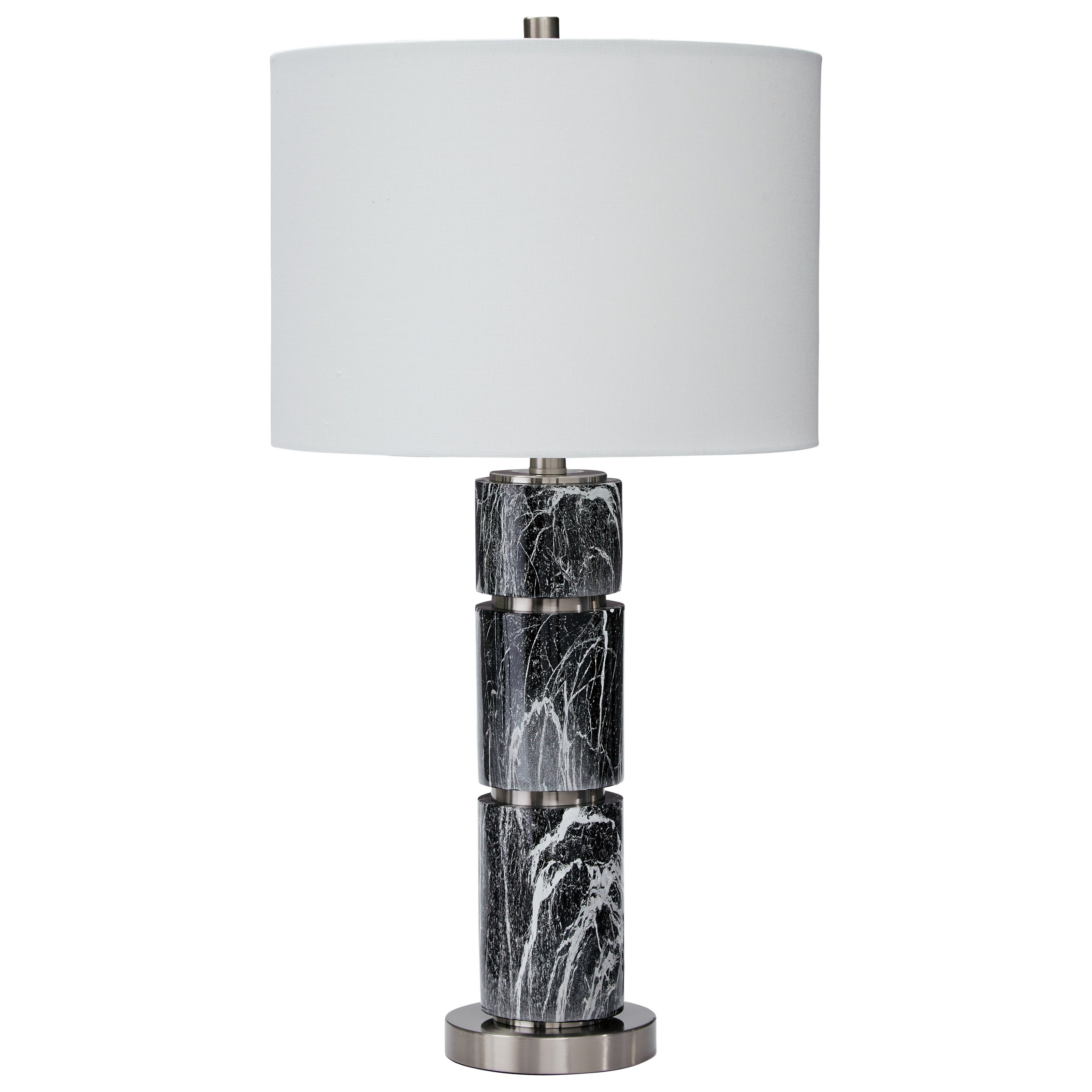 Signature Design by Ashley Lamps - Contemporary Set of 2 Maricela Black/White Table Lamps - Item Number: L243204