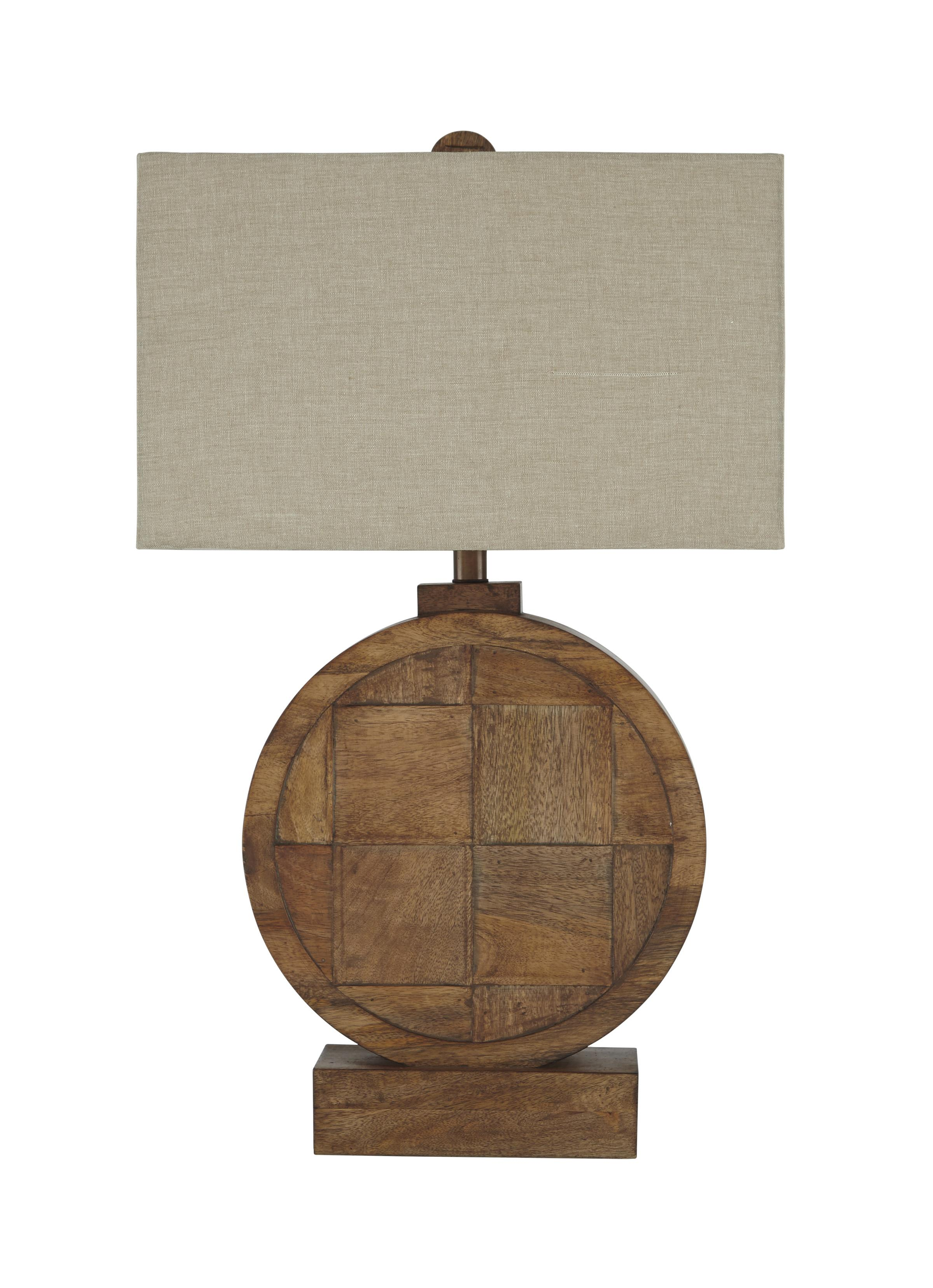 Signature Design by Ashley Lamps - Contemporary Shonalee Natural/Brown Wood Table Lamp - Item Number: L327114