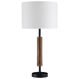 Set of 2 Maliny Black/Brown Wood Table Lamps