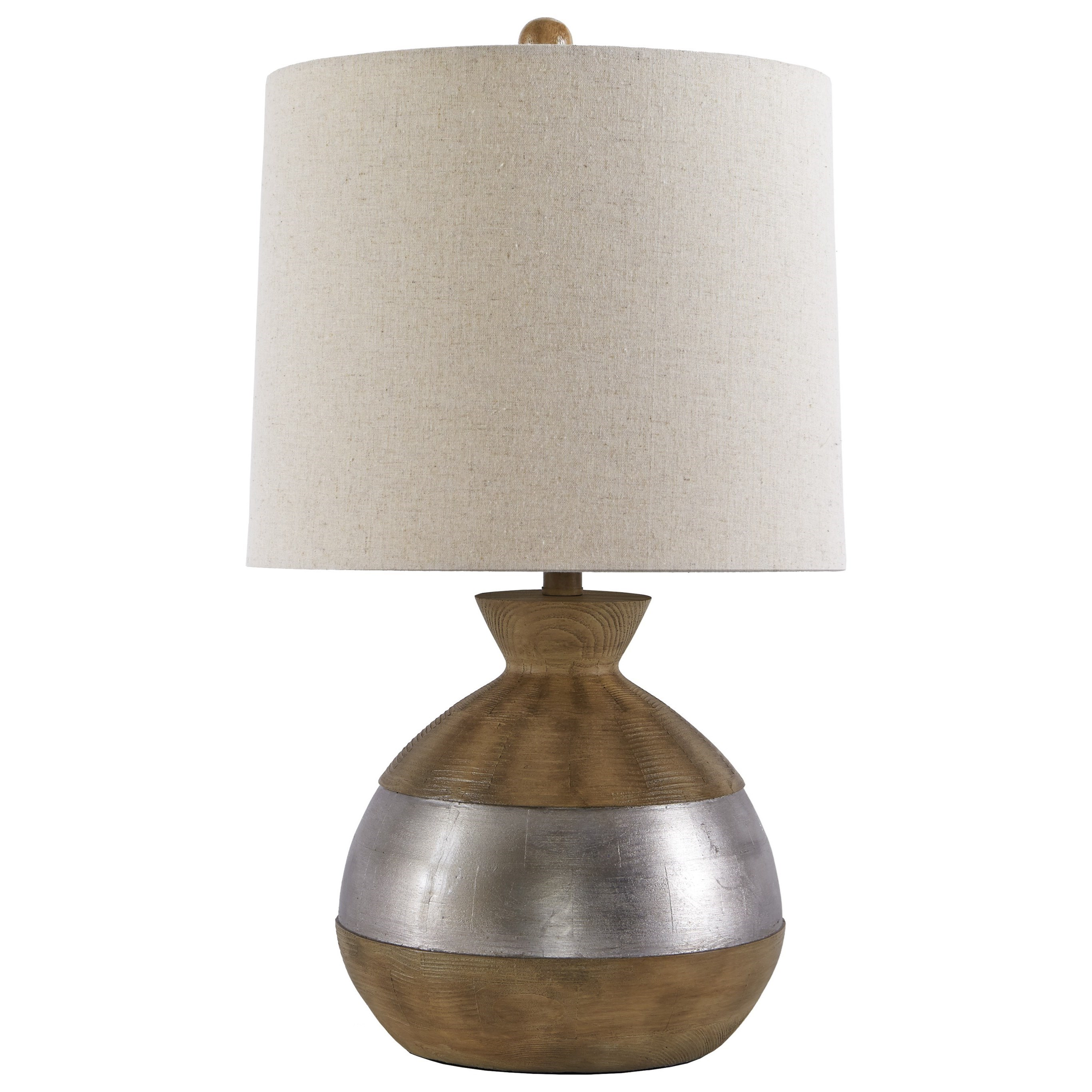 Signature Design by Ashley Lamps - Contemporary Mandla Brown/Silver Finish Poly Table Lamp - Item Number: L328994