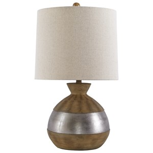 Mandla Brown/Silver Finish Poly Table Lamp