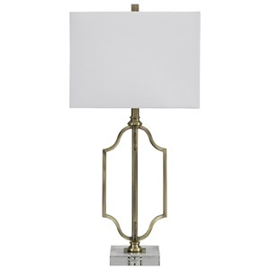 Signature Design by Ashley Lamps - Contemporary Arabela Antique Brass Metal Table Lamp
