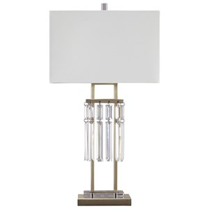 Megdalia Clear.Brass Finish Metal Table Lamp