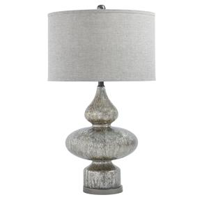 Signature Design by Ashley Lamps - Contemporary Subira Silver Finish Glass Table Lamp