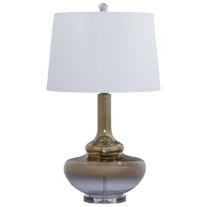 Signature Design by Ashley Lamps - Contemporary Jasmyn Gold Finish Glass Table Lamp