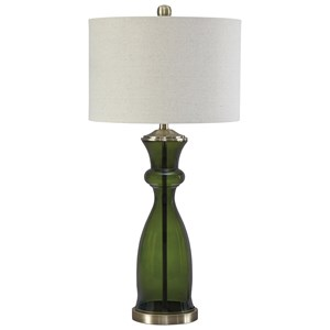Signature Design by Ashley Lamps - Contemporary Ambrogio Green Glass Table Lamp