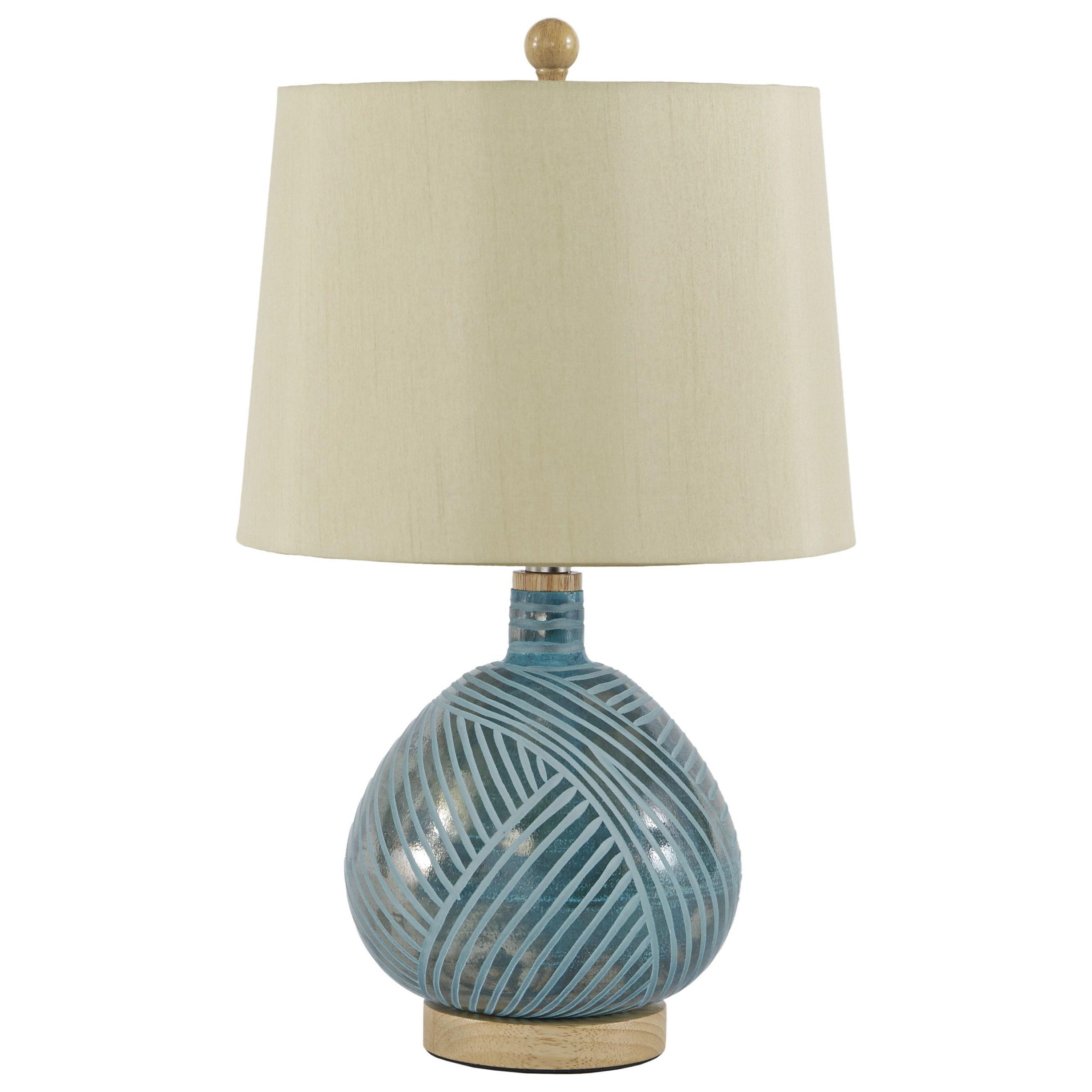 Jenaro Teal Glass Table Lamp