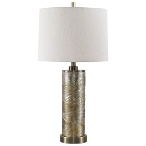 Signature Design by Ashley Lamps - Contemporary Farrar Gold Finish Glass Table Lamp