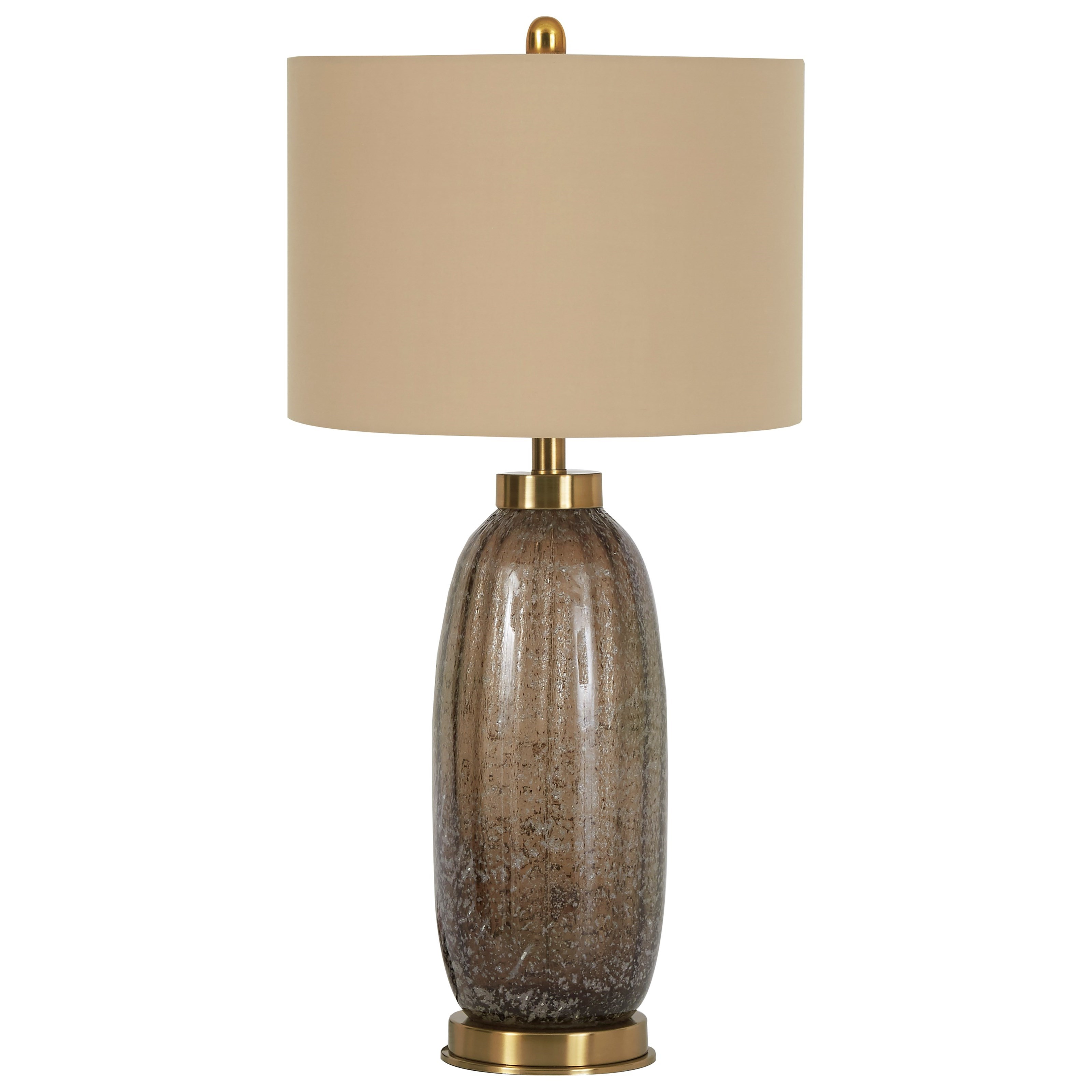 Lamps - Contemporary Set of 2 Aaronby Taupe Glass Table Lamps by Ashley (Signature Design) at Johnny Janosik
