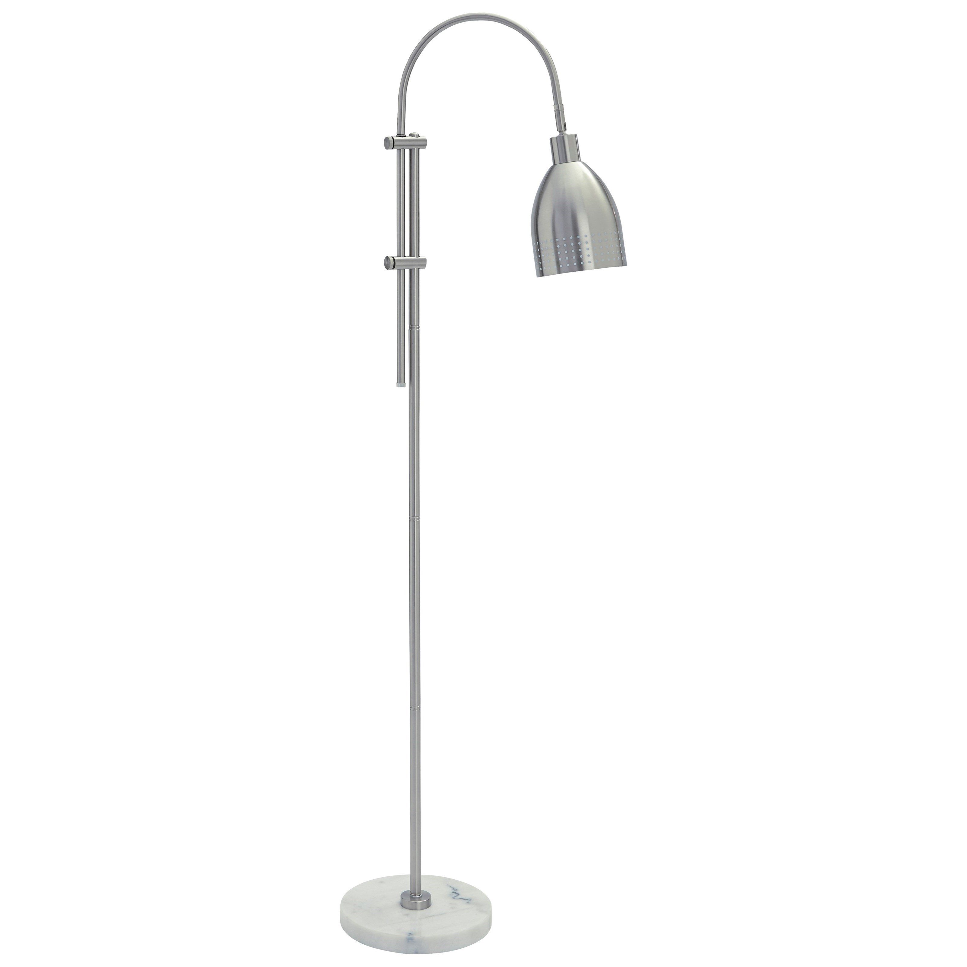 Signature Design by Ashley Lamps - Contemporary Asabi Silver Finish/Marble Metal Floor Lamp - Item Number: L734191
