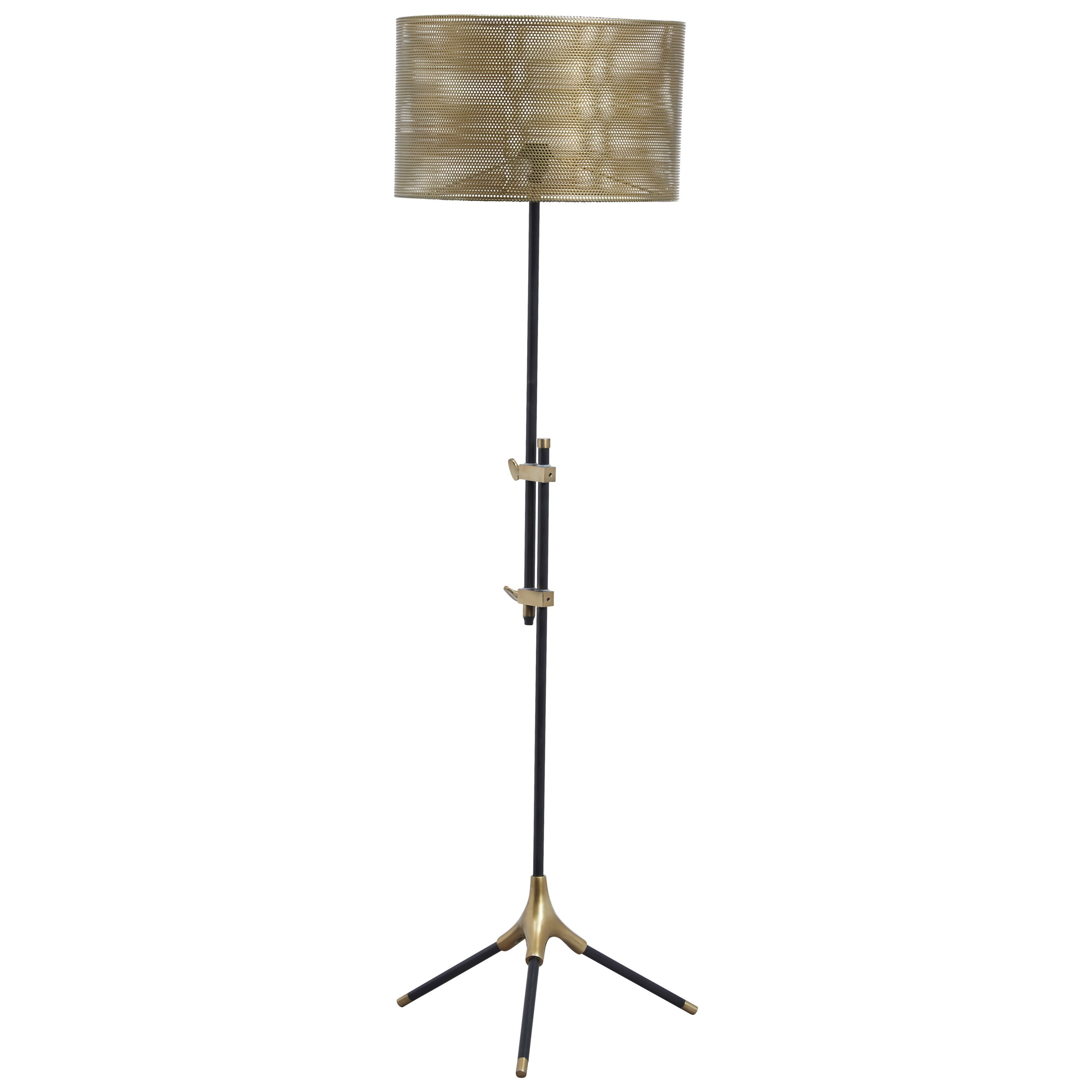 Mance Gray/Brass Finish Metal Floor Lamp