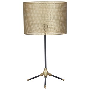 Signature Design by Ashley Lamps - Contemporary Mance Gray/Brass Finish Metal Table Lamp