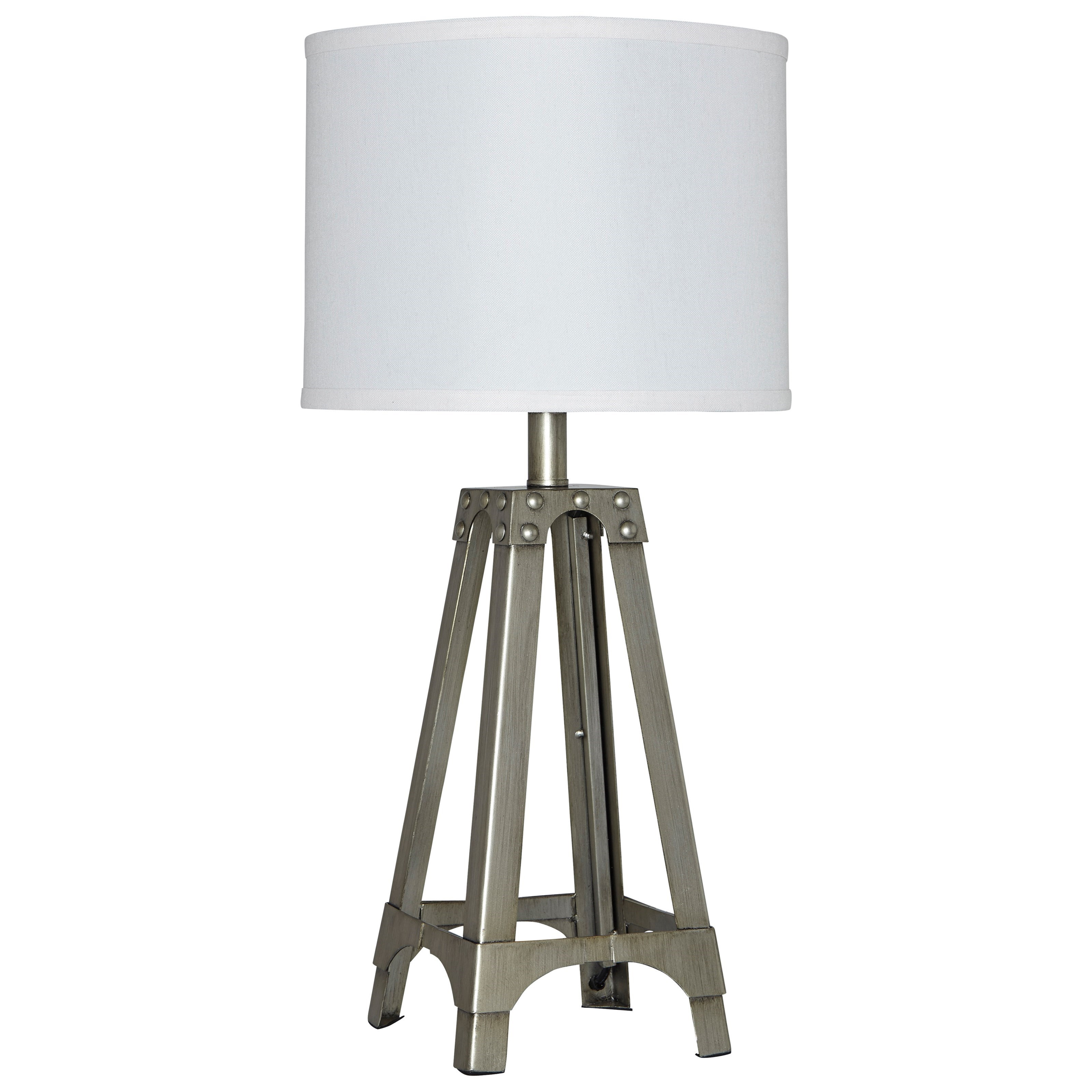 Signature Design by Ashley Lamps - Contemporary Arty Silver Finish Metal Table Lamp - Item Number: L857584