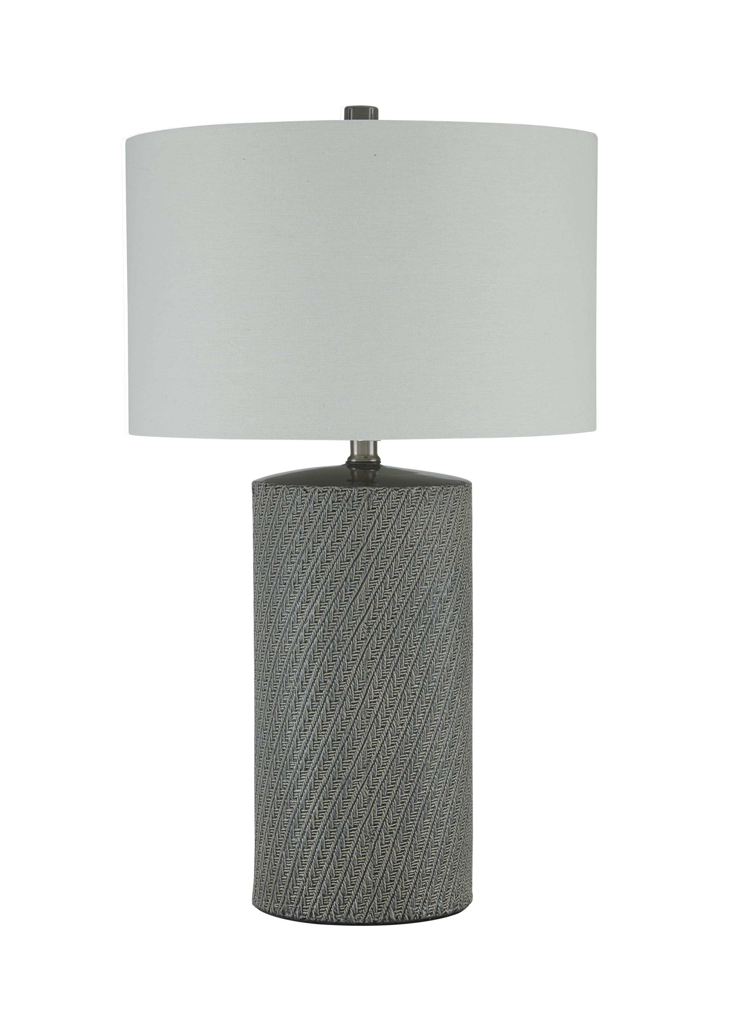 Signature Design by Ashley Lamps - Vintage Style Shelleny Gray/Green Ceramic Table Lamp - Item Number: L100344