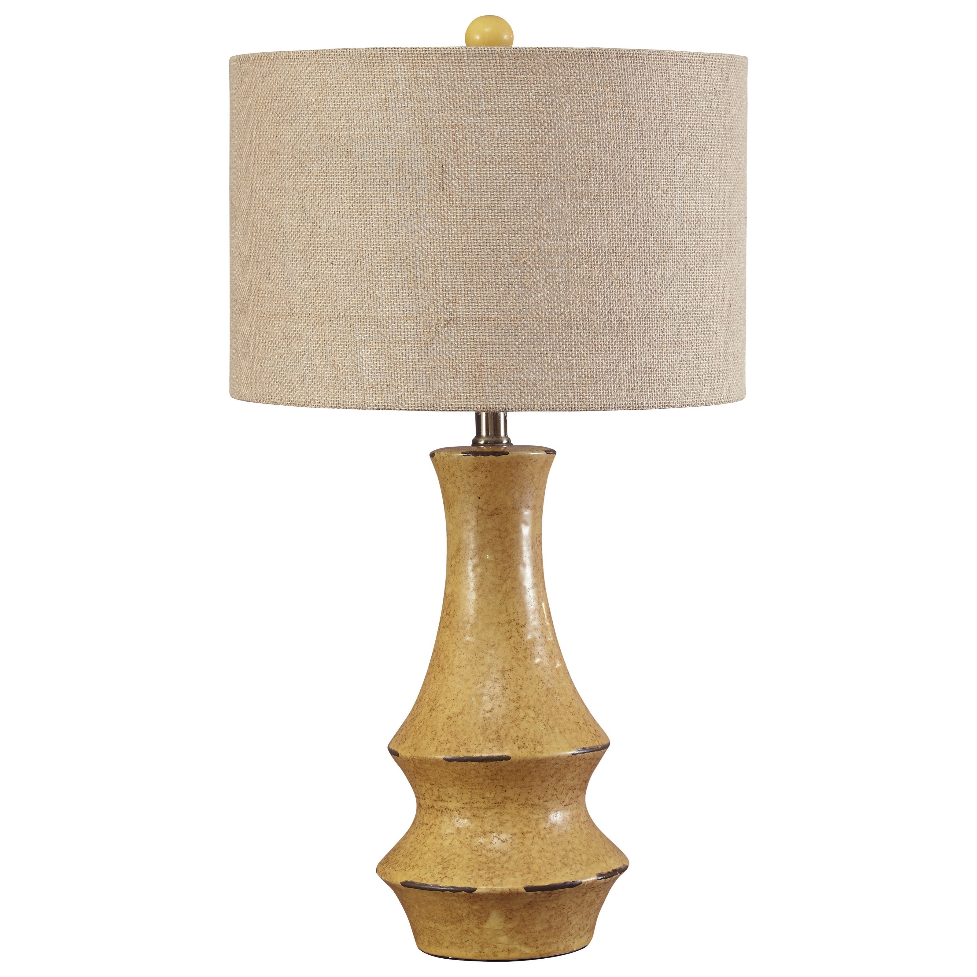 Signature Design By Ashley Lamps   Vintage Style Jenci Antique Yellow Table  Lamp   Item Number