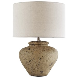 Mahfuz Beige Ceramic Table Lamp