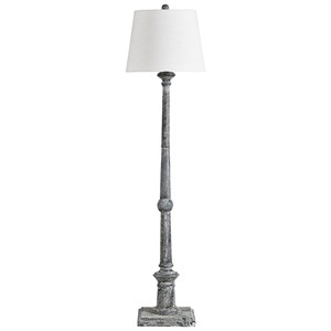 Zimba Antique Gray Wood Floor Lamp