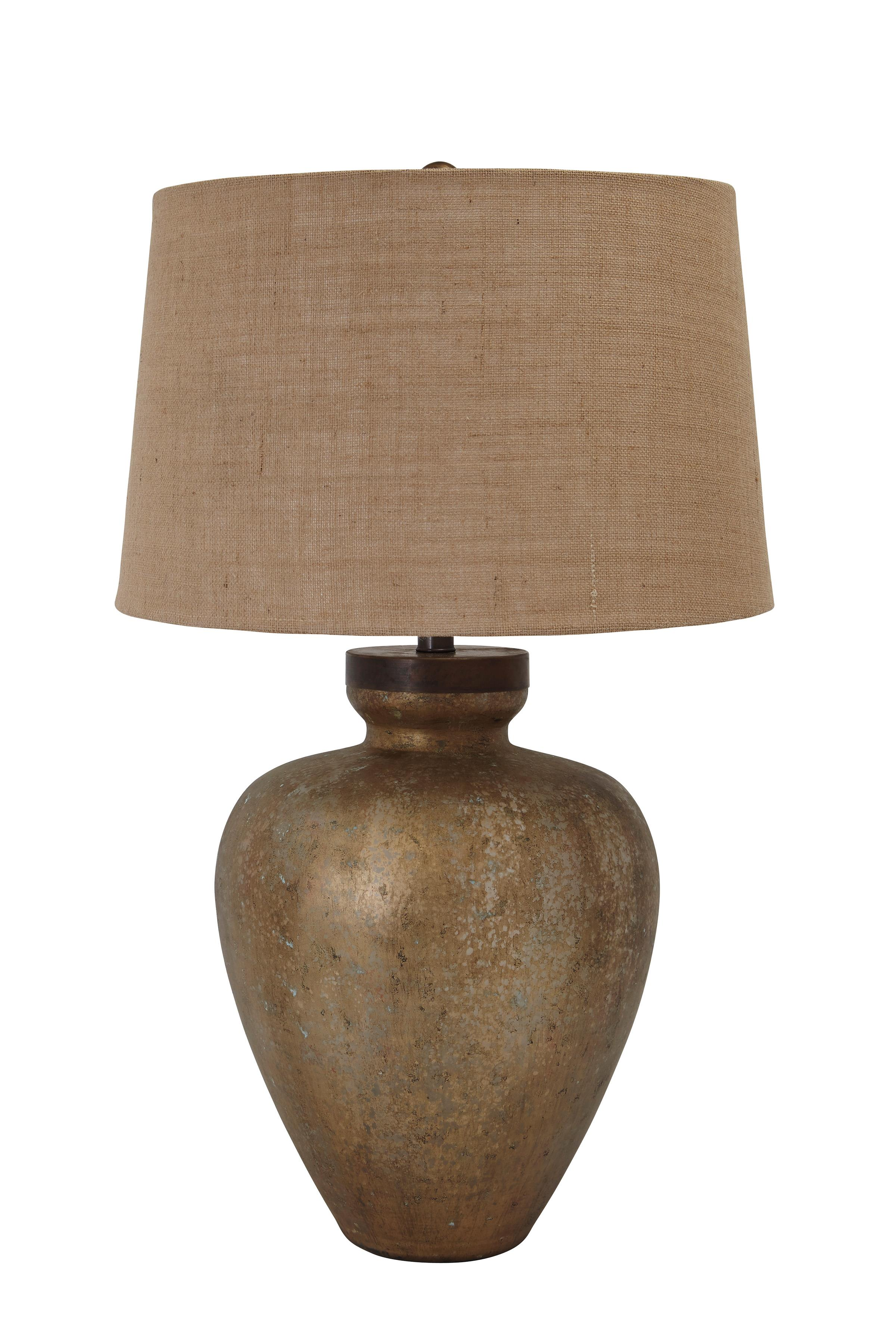 Signature Design by Ashley Lamps - Vintage Style Shaunelle Gold Finish Glass Table Lamp - Item Number: L430194