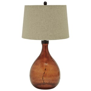 Signature Design by Ashley Lamps - Vintage Style Arayna Brown Glass Table Lamp