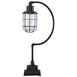 Signature Design by Ashley Lamps - Vintage Style Jae Antique Black Metal Desk Lamp