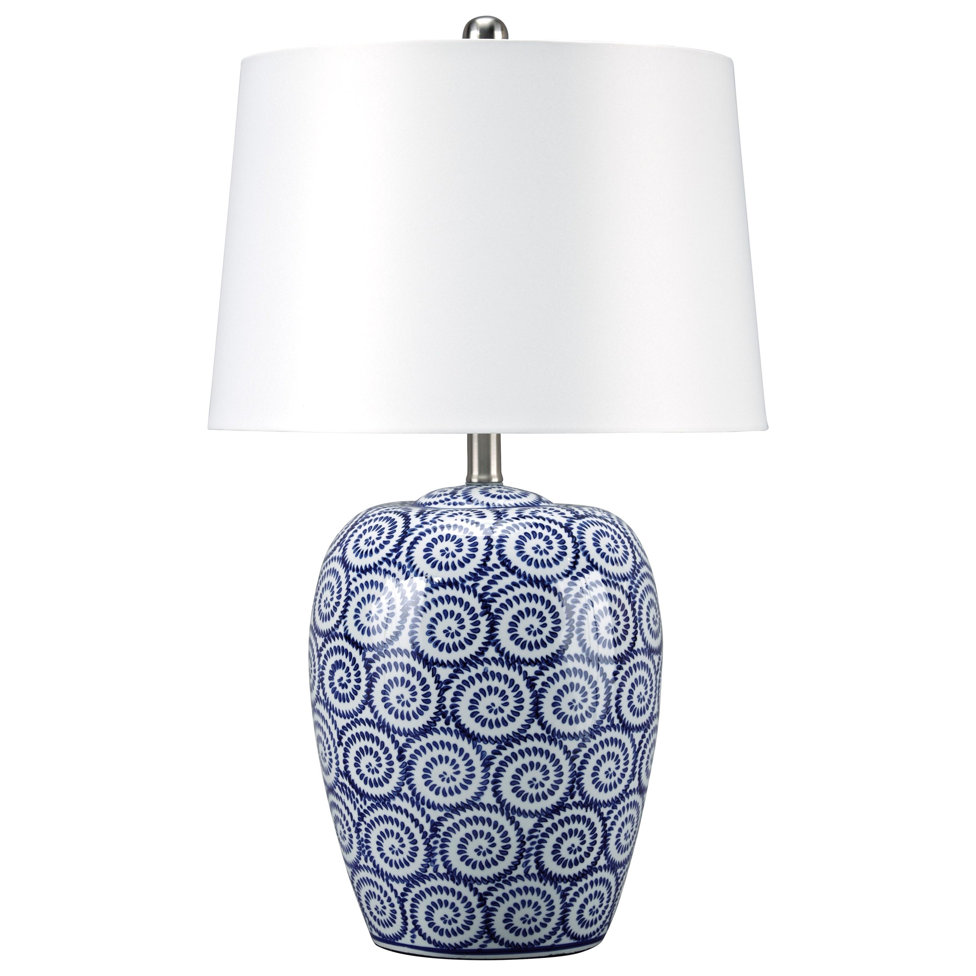 Mailini White/Blue Ceramic Table Lamp