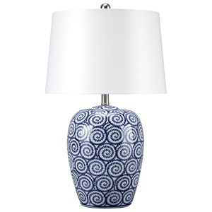 Mailini White/Blue Ceramic Table Lamp