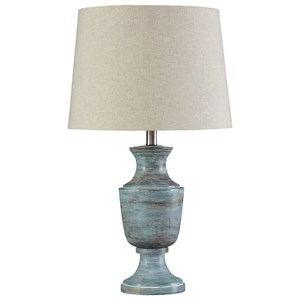 Signature Design By Ashley Lamps   Traditional Classics Jehoram Blue Metal  Table Lamp