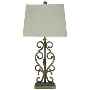 Signature Design by Ashley Furniture Lamps - Traditional Classics Set of 2 Amiel Metal Table Lamps