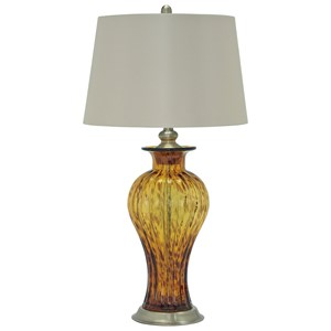 Signature Design by Ashley Lamps - Traditional Classics Ardal Amber Glass Table Lamp