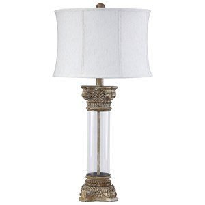 Signature Design by Ashley Lamps - Traditional Classics Jaylen Clear/Brown Glass Table Lamp