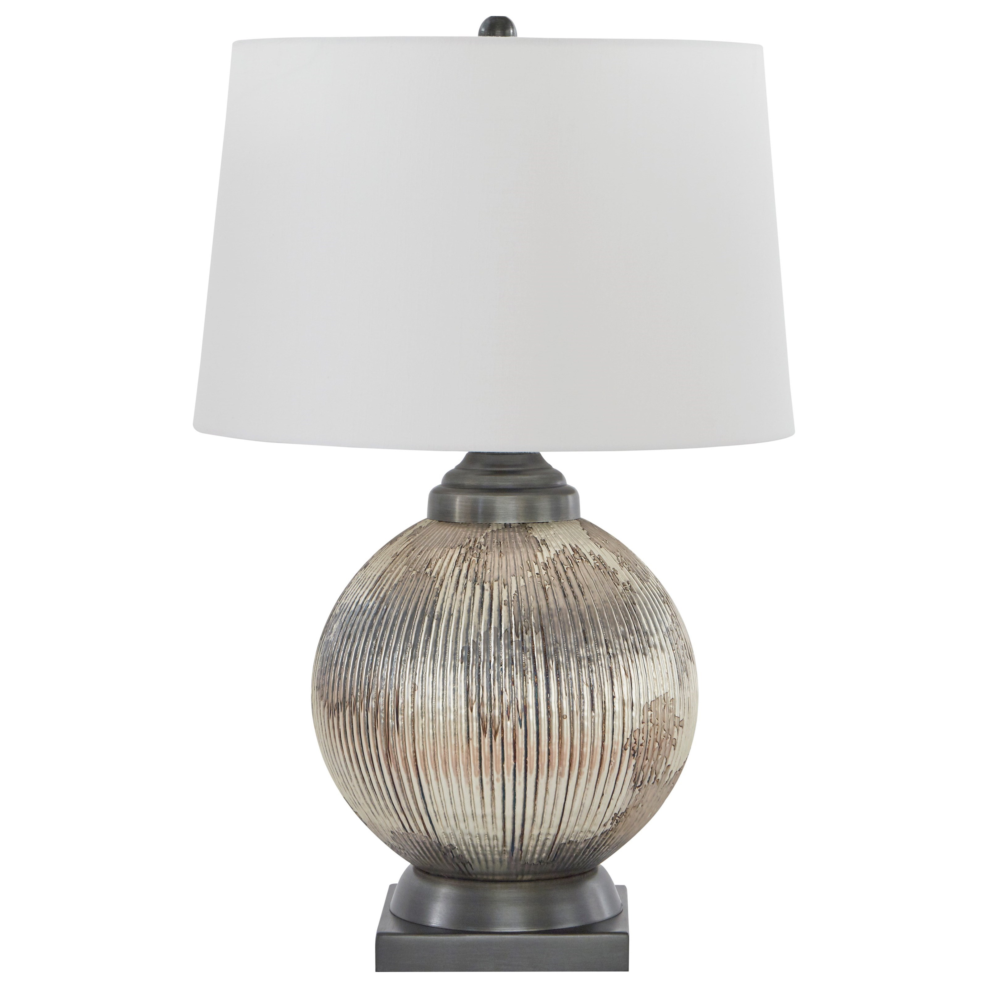 Lamps - Traditional Classics Cailan Silver/Bronze Finish Glass Table Lamp by Ashley (Signature Design) at Johnny Janosik