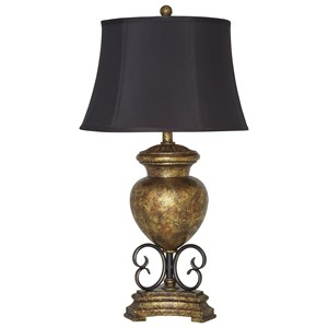 Signature Design by Ashley Lamps - Traditional Classics Archwood Black/Gold Finish Poly Table Lamp