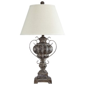Signature Design by Ashley Lamps - Traditional Classics Jaleh Antique Finish Poly Table Lamp