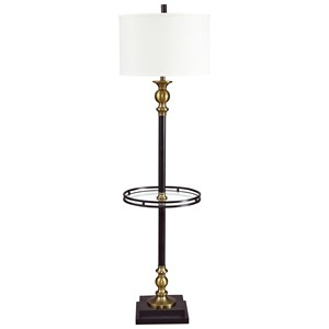 Signature Design by Ashley Lamps - Traditional Classics Jachin Black/Brass Finish Metal Tray Lamp