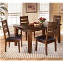Signature Design by Ashley Larchmont 5 Piece Rectangular Dining Table Set - Item Number: D442-25+4x01