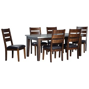 Signature Design by Ashley Larchmont 7-Piece Rectangular Dining Table Set