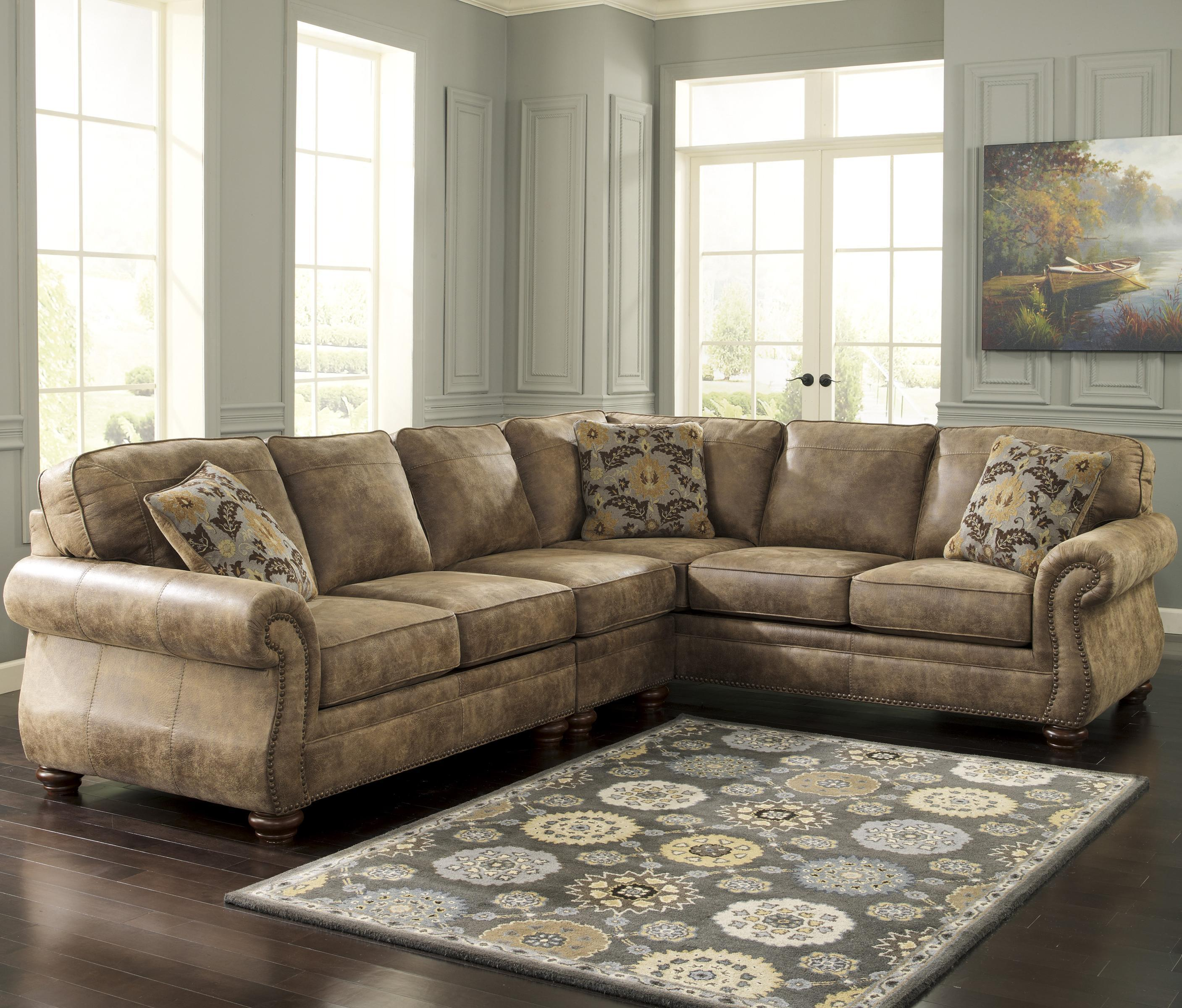 Signature Design by Ashley Larkinhurst - Earth Sectional with RAF Sofa - Item Number: 3190155+46+67