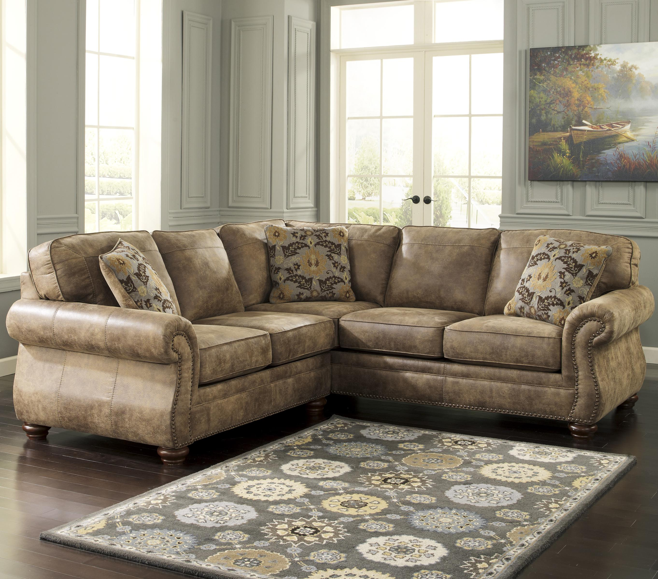 Signature Design By Ashley Larkinhurst Earth Traditional Roll Arm Corner Sectional Furniture