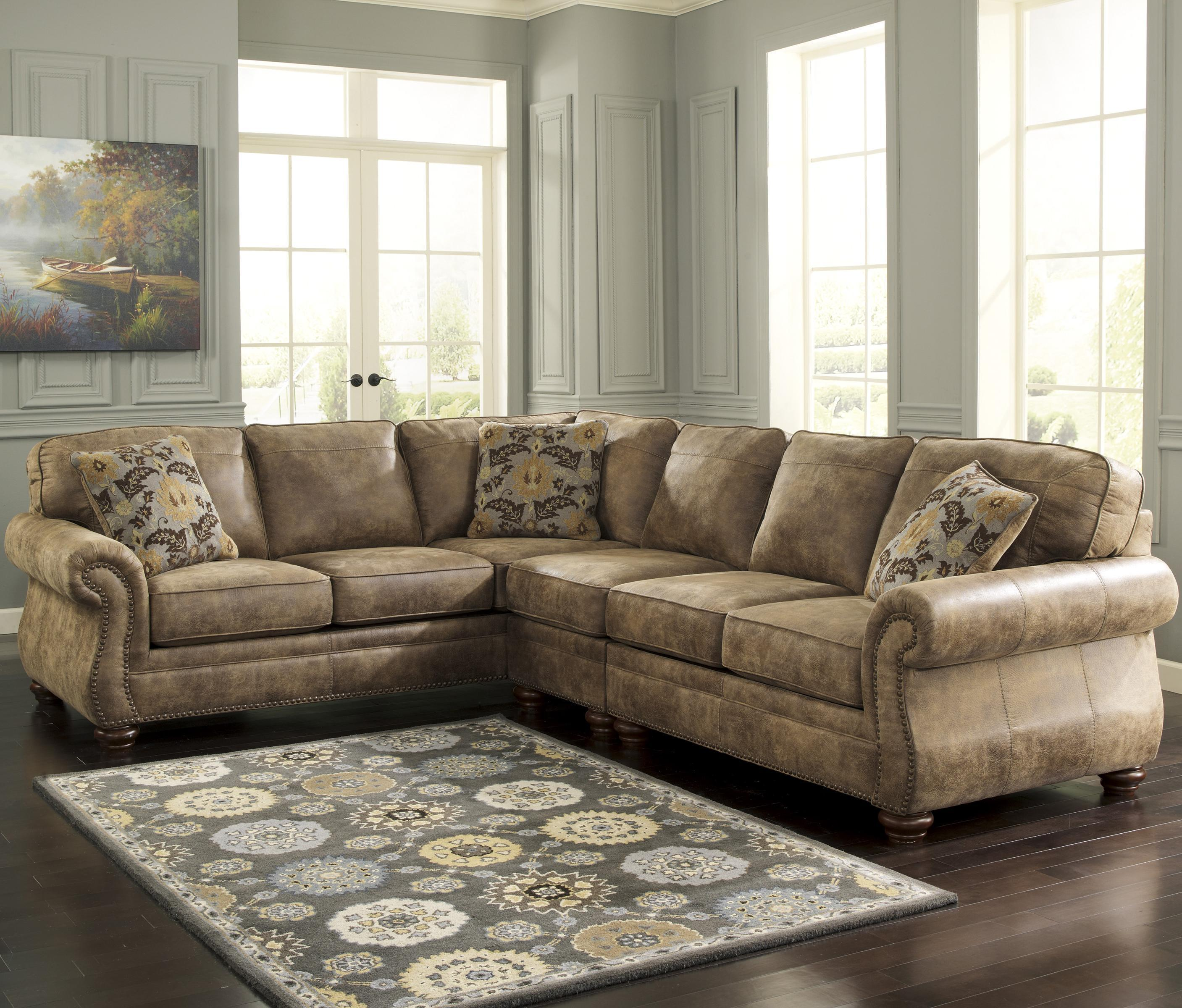 Signature Design by Ashley Larkinhurst - Earth Sectional with LAF Sofa - Item Number: 3190166+46+56