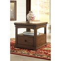 Signature Design by Ashley Larrenton Transitional Rectangular End Table with Pull Out Shelf & Drawer