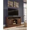 Signature Design by Ashley Larrenton Traditional Large TV Stand with Arched Doors & Egg-and-Dart Molding