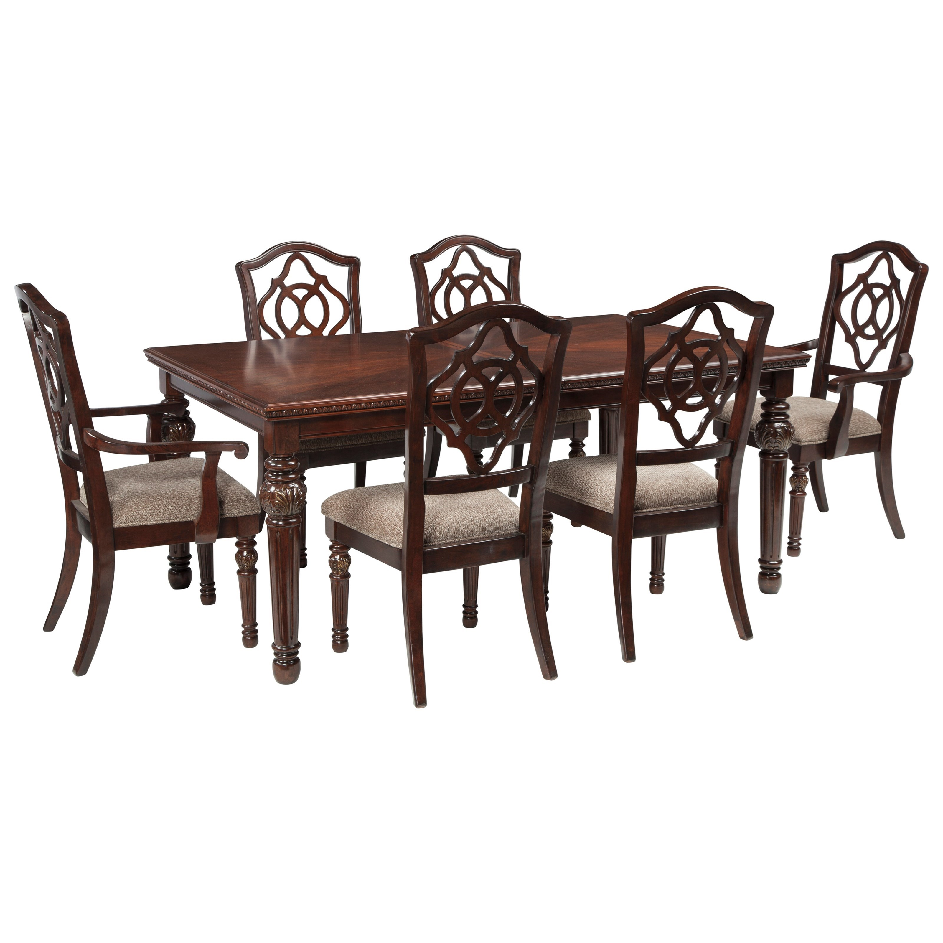 Signature Design by Ashley Leahlyn 7-Piece Rectangular Dining Table Set - Item Number: D626-35+2x01A+4x01
