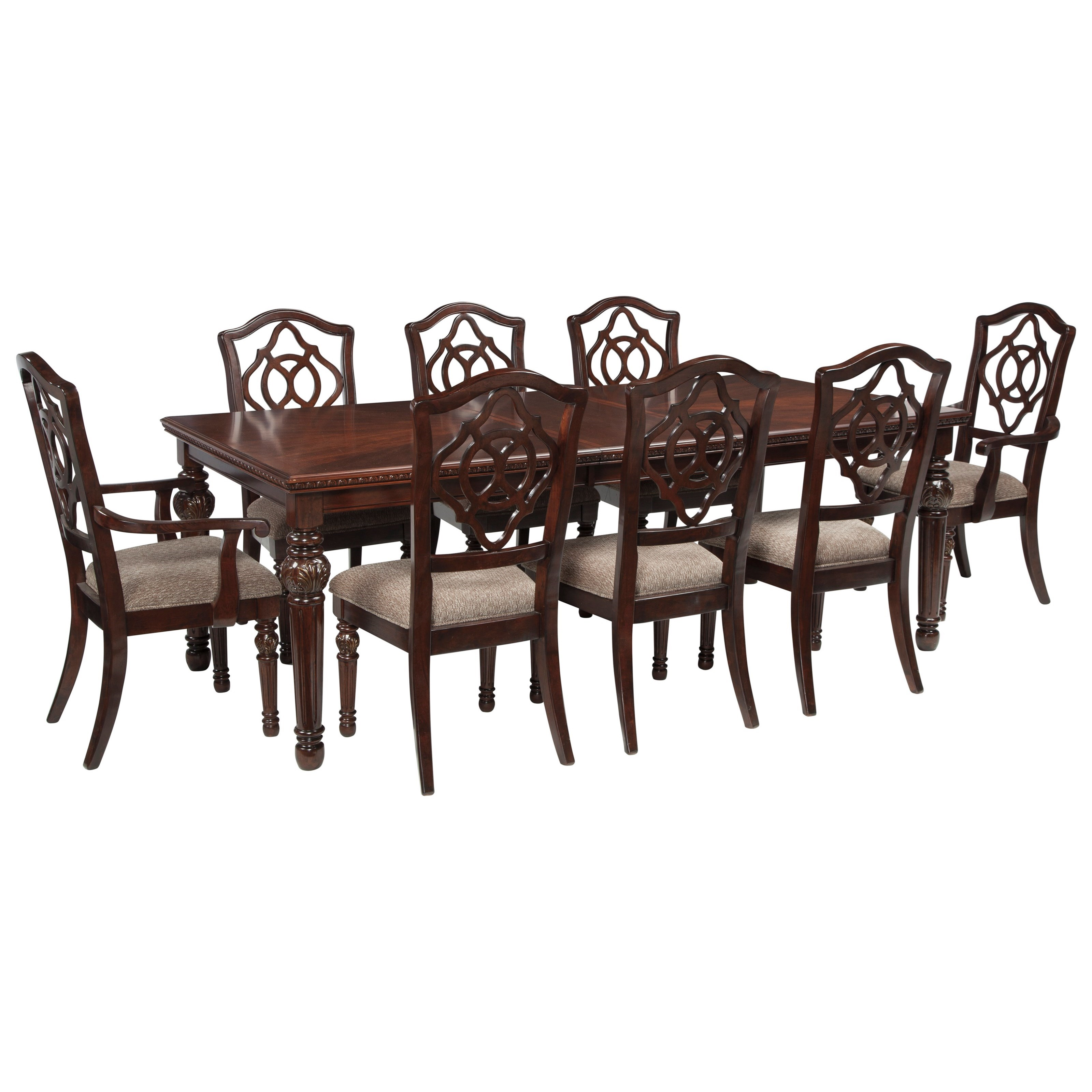 Signature Design by Ashley Leahlyn 9-Piece Rectangular Dining Table Set - Item Number: D626-35+2x01A+6x01