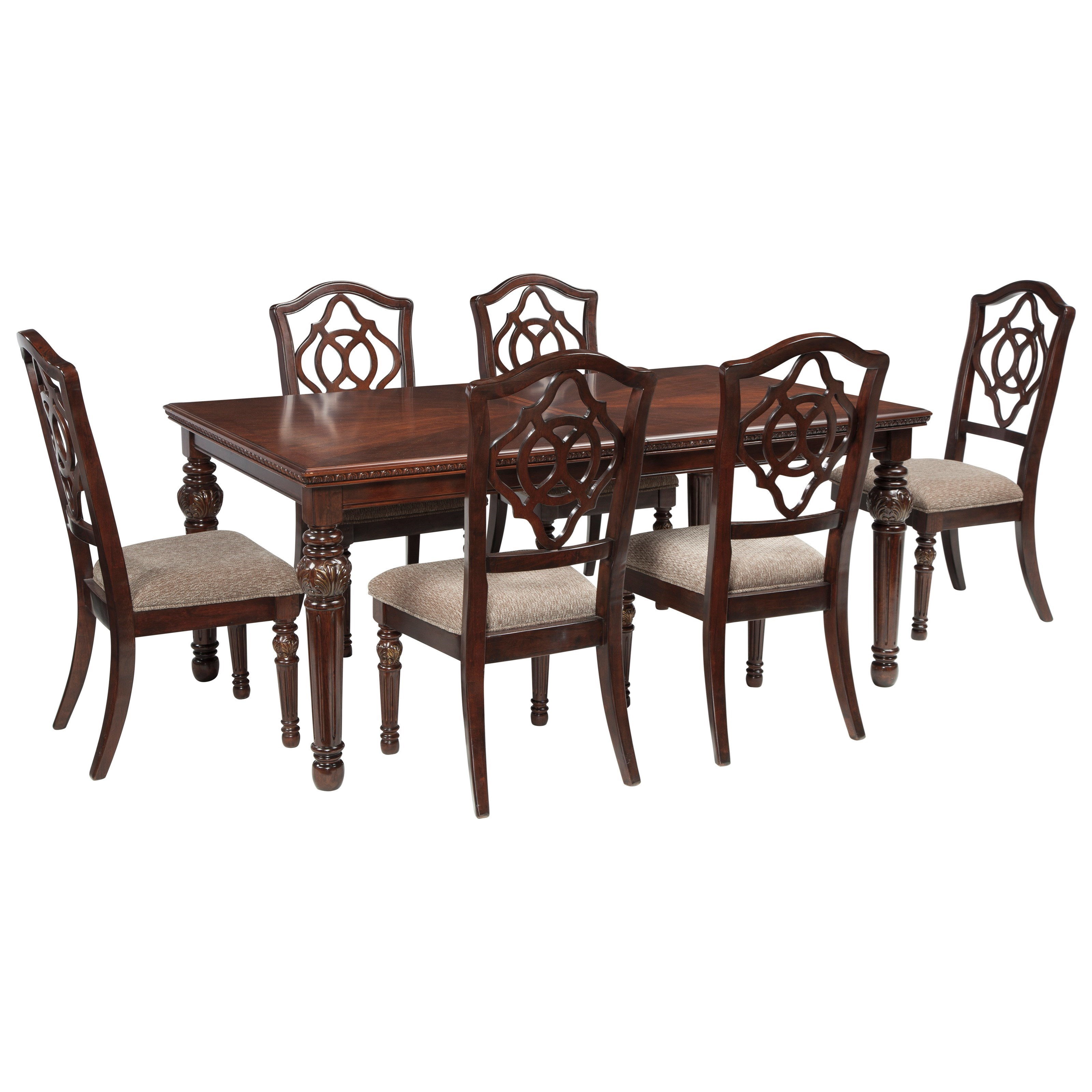 Signature Design by Ashley Leahlyn 7-Piece Rectangular Dining Table Set - Item Number: D626-35+6x01
