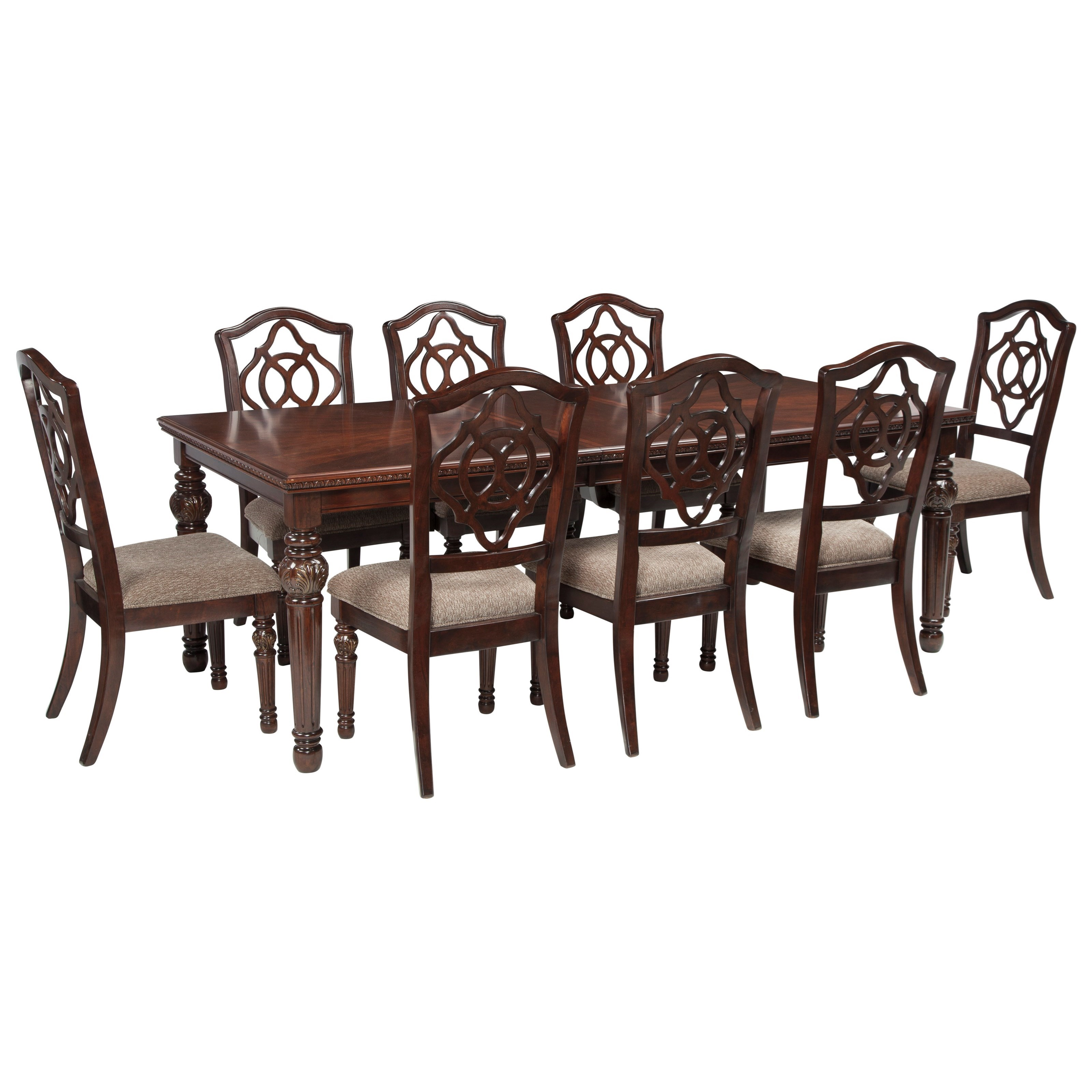 Signature Design by Ashley Leahlyn 9-Piece Rectangular Dining Table Set - Item Number: D626-35+8x01