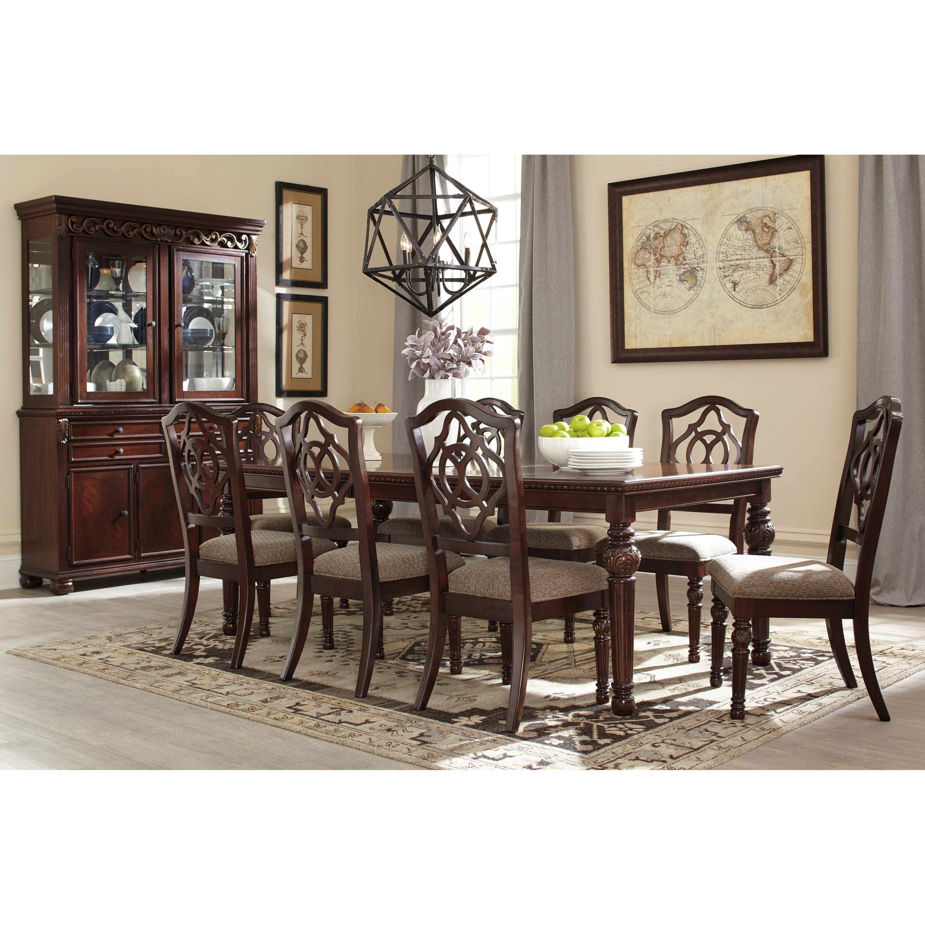 Signature design by ashley leahlyn 9 piece rectangular for Dining room furniture 9 piece