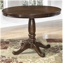Signature Design by Ashley Leahlyn Round Dining Table with Turned Pedestal Base & Bordered Veneer Top