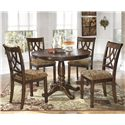 Signature Design by Ashley Leahlyn 5-Piece Round Dining Table Set - Item Number: D436-15B+T+4x01