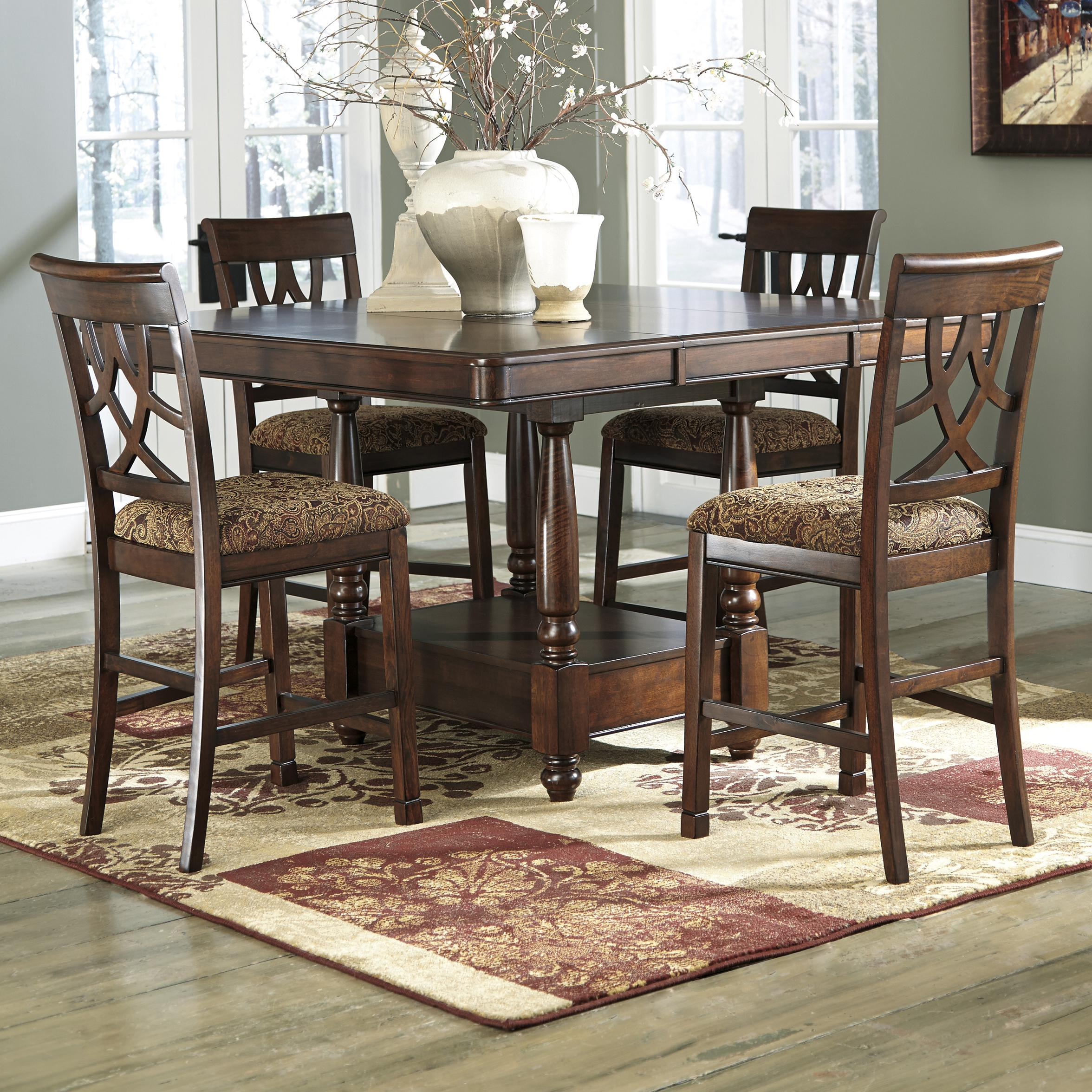 Ashley Signature Design Leahlyn 5 Piece Cherry Finish Counter Table Extension Set Dunk