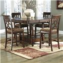 Signature Design by Ashley Leahlyn 5-Piece Cherry Finish Counter Table Extension Set